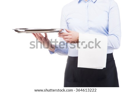 Woman in waiter uniform. Close up in tray. Isoleted on white background. - stock photo