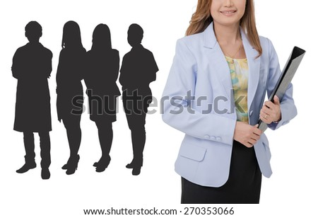 Woman in white lab coat inviting making welcome hand gesture. Doctor with clipboard and black object on  white background. Medical person for health insurance.  - stock photo