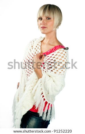 woman in winter clothes isolated