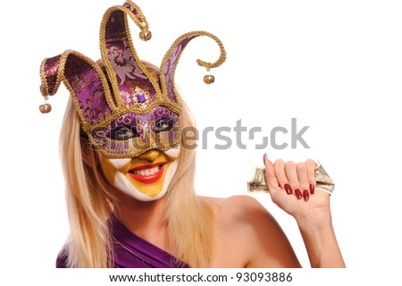 woman in wiolet mask press USD, isolated on white