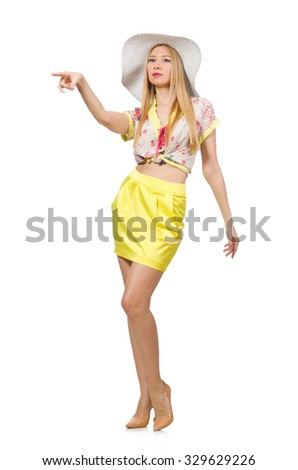 Woman in yellow clothing isolated on white - stock photo