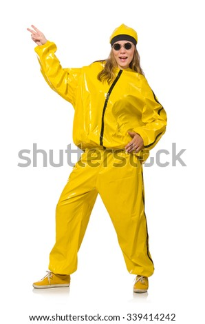 Woman in yellow suit isolated on white - stock photo