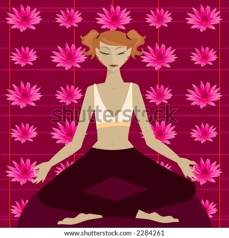 Woman in yoga meditation position in front of a colorful lotus flower pattern - stock photo