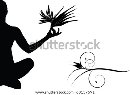 woman in yoga pose and flowers illustration - stock photo
