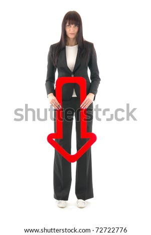 Woman indicant down red arrow, sign negative making, on white background. - stock photo