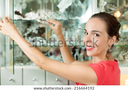 Woman is arranging jewelry in a accessory shop - stock photo