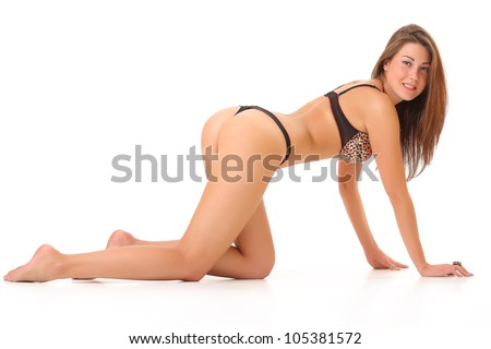 woman is ass to the camera - stock photo