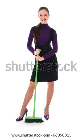 woman is cleaning floor. Isolated at white background - stock photo