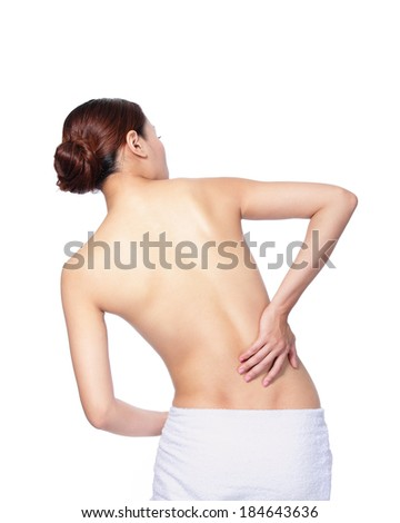 woman is having a pain in her back and waist isolated on white, asian