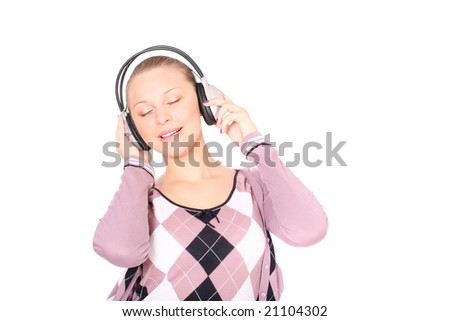 woman is listening to the music