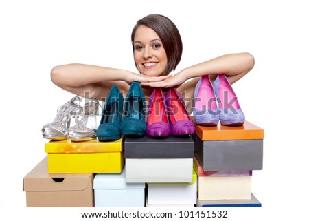Woman is obviously proud about her shoe selection - stock photo