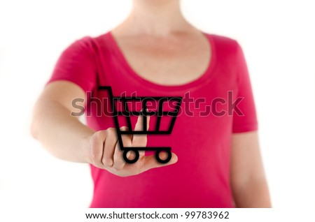 woman is shopping something at home - stock photo