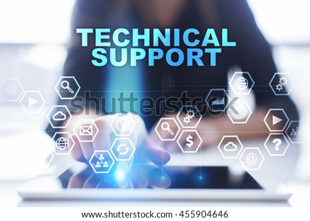 "Woman is using tablet pc, pressing on virtual screen and select ""Technical support"". - stock photo"