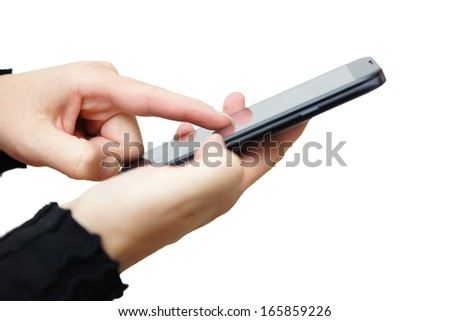 woman is working on big mobile phone - stock photo