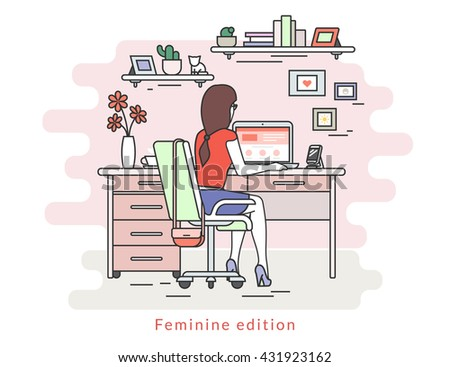 Woman is working with laptop. Flat line contour illustration of student studying process sitting at home. Young woman in the room with rose wall, bookshelfs, work desk, chair, fashion bag - stock photo