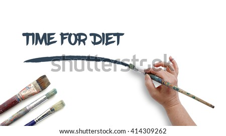 Woman is writing TIME FOR DIET with paintbrush.