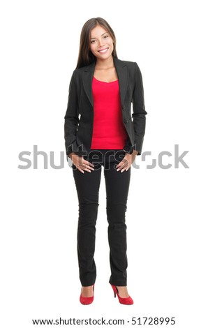 Woman isolated in full body on white background. Beautiful multiracial chinese / caucasian young woman model. - stock photo
