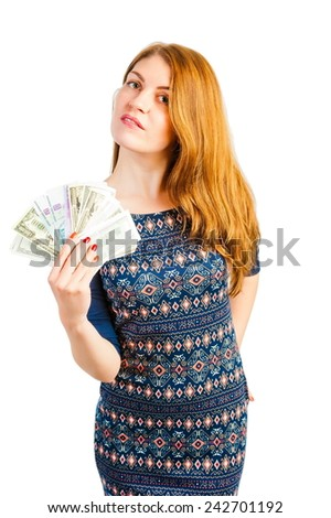 woman isolated on white background with money - stock photo