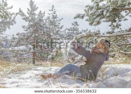 woman joy snow forest - stock photo
