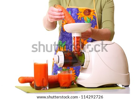 Woman Juice extractor and carrot isolated white kitchen prepare