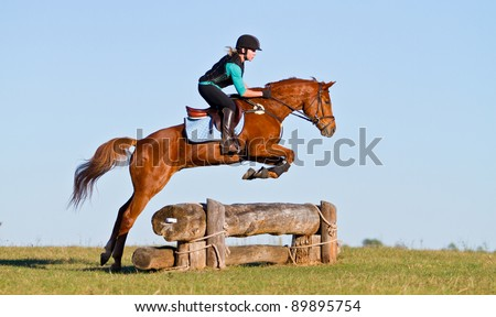 Woman jumping horse over log obstacle on cross country course - stock photo