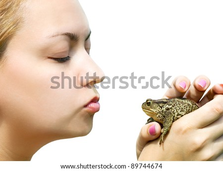 woman kissing a toad