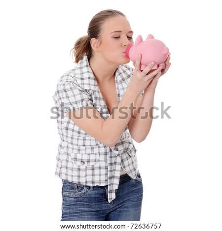 Woman Kissing her  Piggy Bank - stock photo