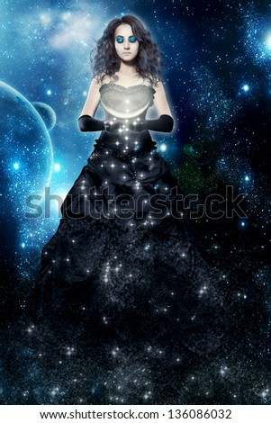 Woman lady night. Magic and fairy tale. Dream and sleep. Computer graphics. Illustration to the fairy tale or legend. Queen of the Night flying the starry sky. Witchcraft and star witch.