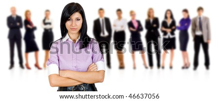 woman leading a successful business team over white