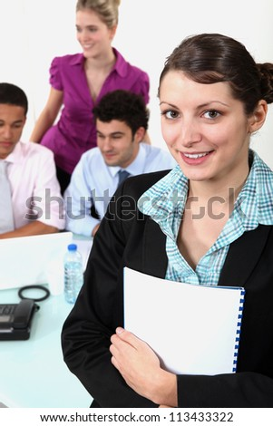 Woman leading business-meeting - stock photo