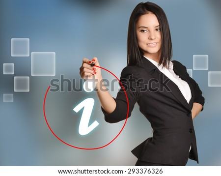 Woman leads round a red marker icon information.