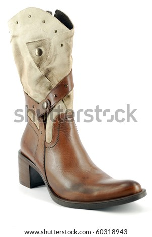 woman leather cowboy boot - stock photo