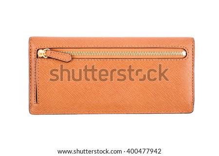 Woman Leather Wallet On White - stock photo