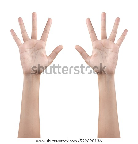 Woman left and right hand showing the five fingers isolated on a white background with clipping path