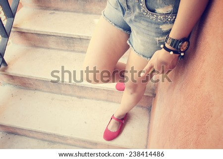 woman leg and shoes