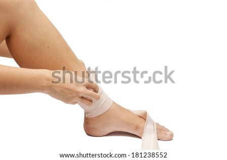 woman leg pain with elastic on white background