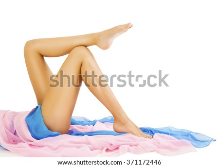 Woman Legs Beauty, Body Skin Care, Model Lying on White
