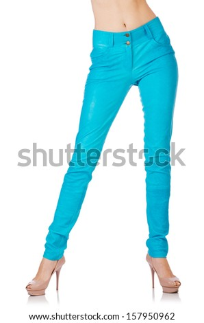 Woman legs in blue trousers - stock photo