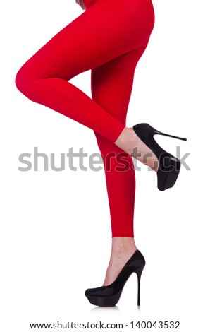 Woman legs in long stockings - stock photo