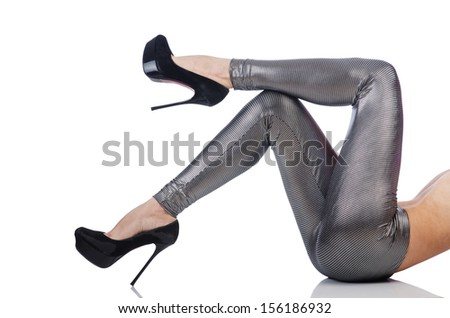 Woman legs with stockings on white - stock photo