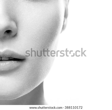 Woman lips nose half-face black and white - stock photo