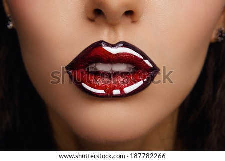 Woman lips with glossy lipstick. Comic and Pop Art Style MakeUp