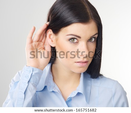 woman listening gossip - stock photo