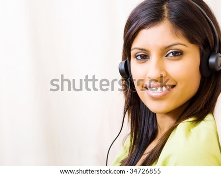 woman listening music with headset - stock photo