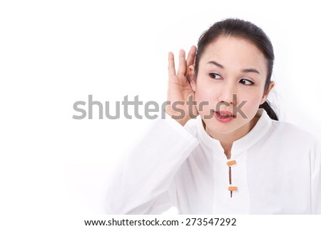 woman listening to good news - stock photo