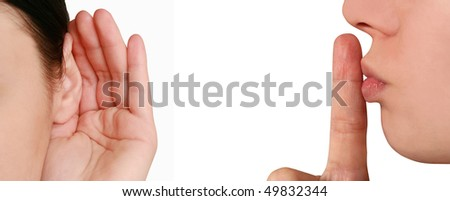 woman listening to gossip - stock photo