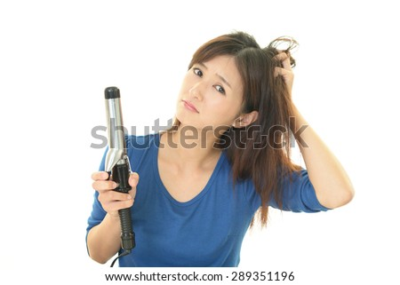 Woman look unhappy with her hair