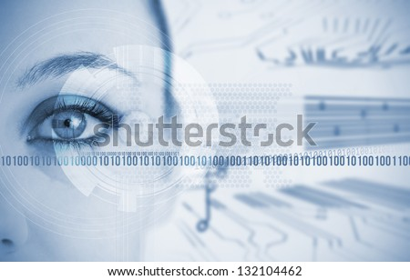 Woman looking at camera with futuristic background with circuit board - stock photo