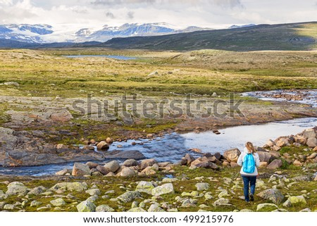 Woman looking at the Hardangervidda National Park landscape