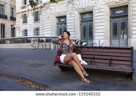 Woman Looking Away While On A Call - stock photo